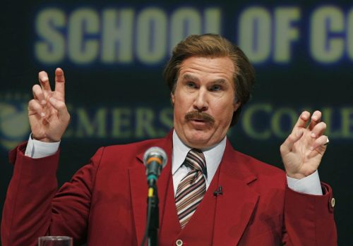 'Put that baby to bed without a diaper!' Anchorman's Ron Burgundy drops by TV booth for Kings-Sharks game