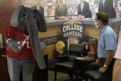 Watch: Alabama football coach Nick Saban scolds elephant mascot in COVID-19 PSA