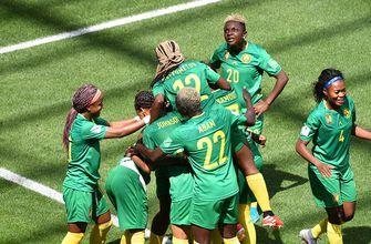 Cameroon's Gabrielle Onguene beats the keeper with a nifty finish