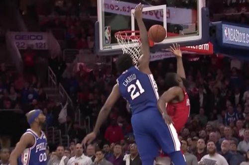 Watch: Joel Embiid swats James Harden, stares him down