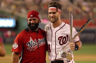 Bryce Harper talks with Joe Buck during the MLB All-Star Game