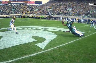 See the ref's actual view of this astonishing one-handed catch by Michigan State