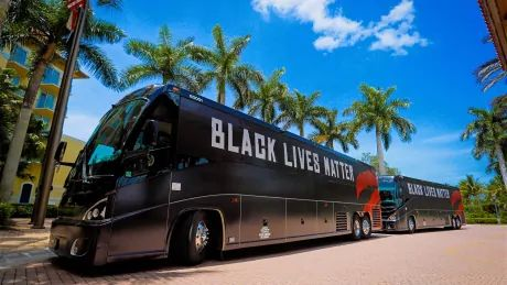 Raptors arrive at Disney campus in BLM buses, teams begin restart routines
