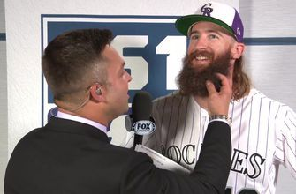 Nick Swisher caresses Charlie Blackmon's beard pre-All-Star Game