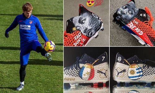 Antoine Griezmann shows off his customised NBA-inspired boots