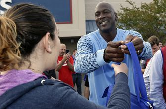 Michael Jordan returns home, meets with hurricane victims