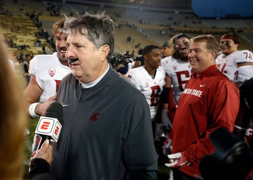 Mike Leach wears fake mustache in postgame interview after Washington State beats Colorado