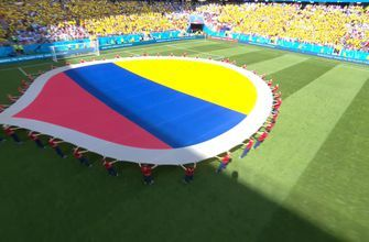 Watch Colombia fans and players sing their national anthem at the FIFA World Cup