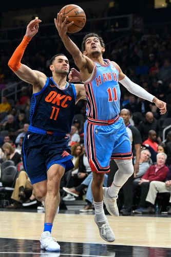 Young wins point guard battle, Hawks top Thunder 142-126