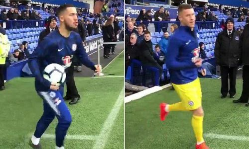 Hazard jokingly joins in with Everton fans booing former star Barkley