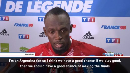 Bolt giving his backing to Argentina at World Cup