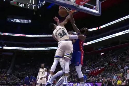 Watch: Pistons' Andre Drummond dunks all over Giannis Antetokounmpo