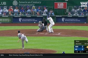 WATCH: Jake Cave robs a home run against the Royals