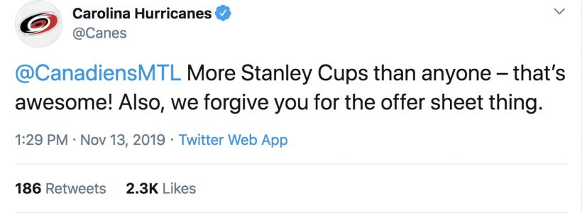Hurricanes celebrate World Kindness Day with nicest Twitter thread ever