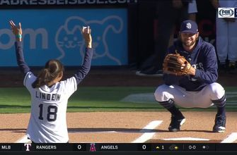 Boston Marathon winner Desiree Linden throws out Saturday's first pitch at Petco Park