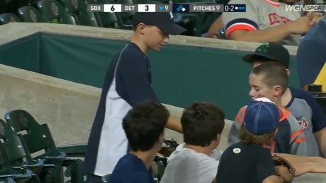 Young Detroit Tigers fan gives away lucky catch to birthday boy