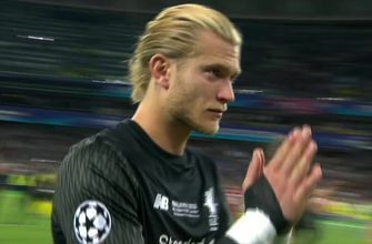 Distraught keeper Loris Karius salutes Liverpool fans after loss