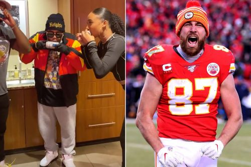 Kayla Nicole shotguns beer as boyfriend Travis Kelce advances to Super Bowl 2021