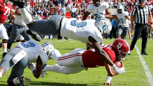 The Citadel has some fun on Twitter at No. 1 Alabama's expense after entering halftime tied