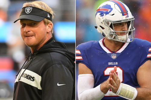 Nathan Peterman visiting Raiders and No. 1 fan Jon Gruden