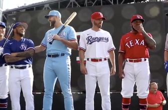 LOOK: Texas Rangers introduce new jerseys for 2020 season: Red on Fridays, Baby Blues on Sunday