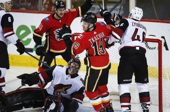 Giordano notches 3 points to lead Flames in blowout of Coyotes