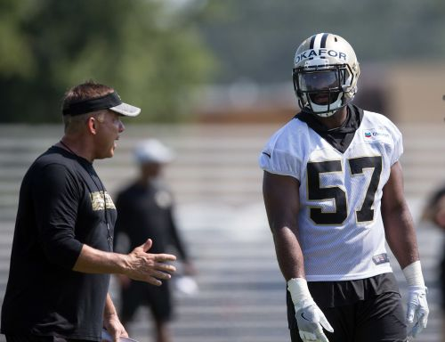 Saints' Alex Okafor leaves practice with apparent leg injury