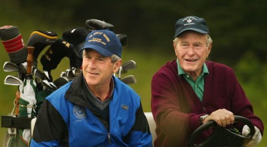 Former President George W. Bush shoots his first hole-in-one
