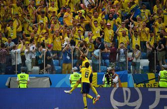 Watch Granqvist score on the penalty to give Sweden a 1-0 lead