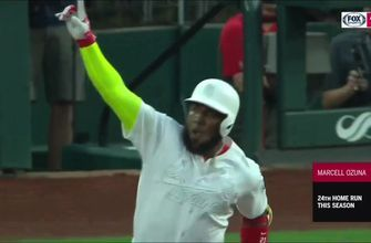 WATCH: Marcell Ozuna drives in three runs in Cardinals' win over Rockies