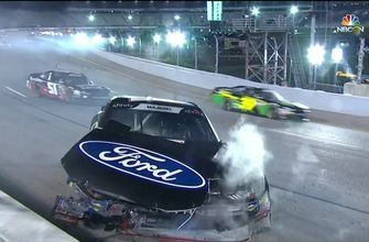 Ty Majeski hits the wall hard after contact from teammate | 2018 NASCAR XFINITY SERIES