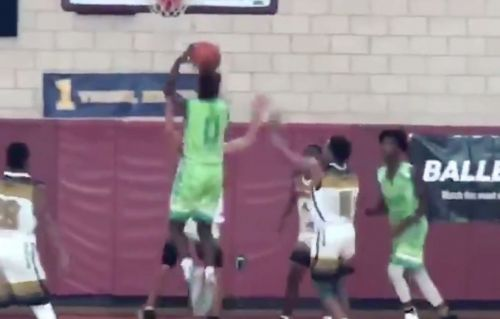 LeBron James Jr. throws down the first of many dunks
