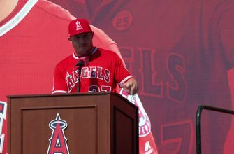 Mike Trout gets mic'd up for contract extension press conference