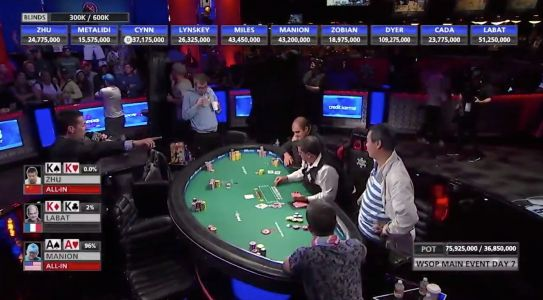 Incredible three-way all-in determines World Series of Poker final table