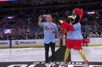 Harrison Bader drops the ceremonial puck before Kings-Blues
