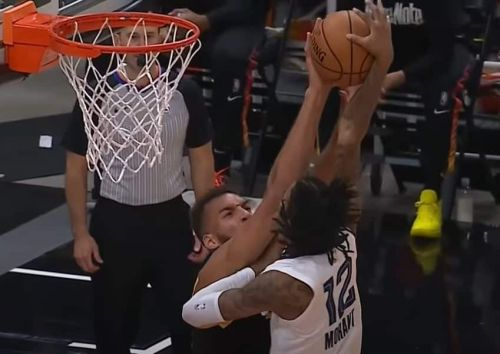 Ja Morant tried to climb Mount Rudy Gobert and got annihilated at the rim