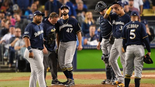 MLB postseason 2018: Brewers starter Gio Gonzalez leaves with leg injury in second inning