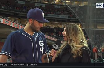 Eric Hosmer talks about his big hit in the 9th, the Padres' pitching following the victory