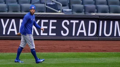 Twice delayed, outfielder George Springer getting closer to Blue Jays debut