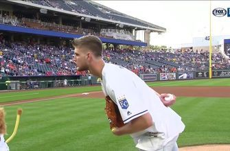 Kansas State's Dean Wade tosses first pitch at Royals game