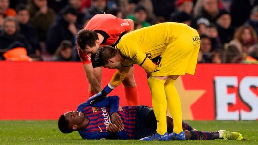 Barcelona's Ousmane Dembele out for 15 days after suffering sprained ankle