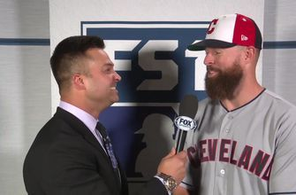 Nick Swisher talks with All-Star pitcher Corey Kluber