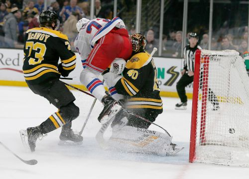 Red-hot Bruins goalie Tuukka Rask leaves after nasty collision with Rangers' Filip Chytil