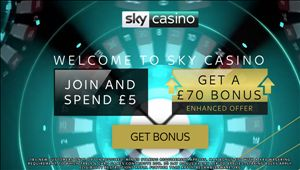 SkyCasino offering £70 new customer bonus: Claim from just £5 deposit