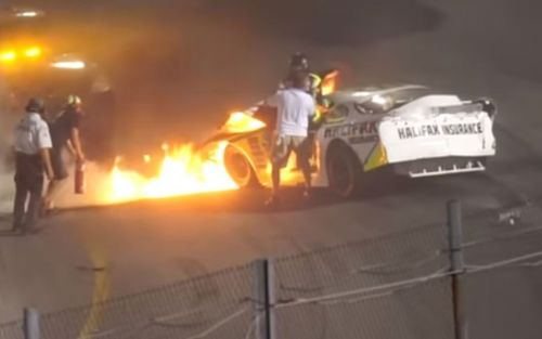 NASCAR disciplines dad for helping pull son out of burning car