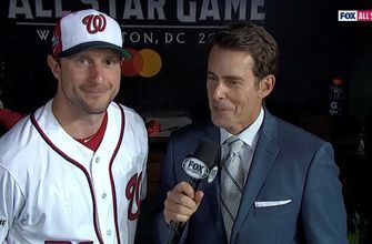 Max Scherzer talks with Tom Verducci after starting the 2018 All-Star Game for the National League