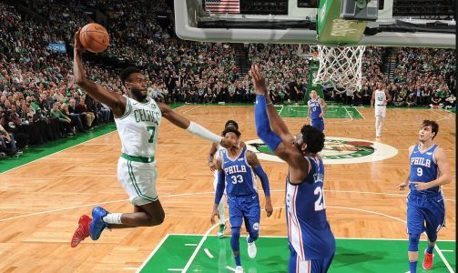 Jaylen Brown throws down massive dunk on Joel Embiid