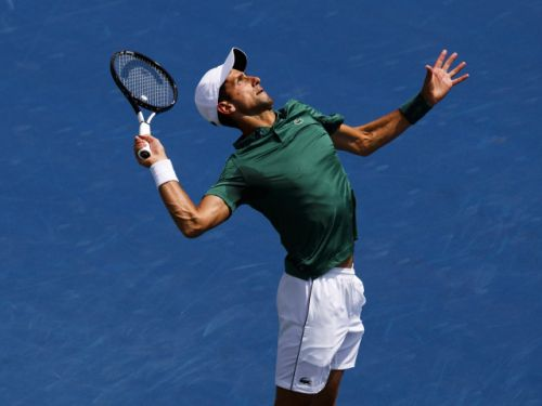 Novak Djokovic cruises by Canada's Peter Polansky on rainy day at Rogers Cup