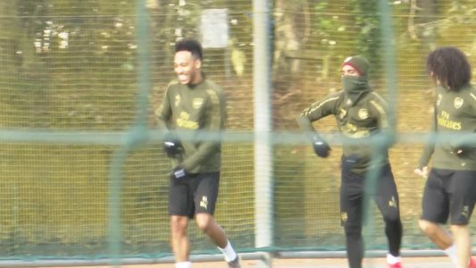 Lacazette, Aubameyang and Guendouzi have dance off at Arsenal training