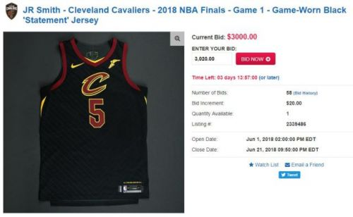 J.R. Smith's NBA Finals Game 1 Jersey Up For Auction